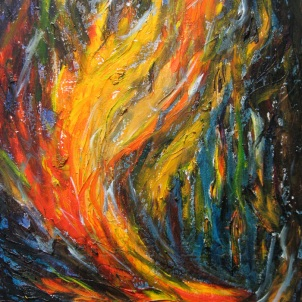 "[SOLD] Windfire, oil canvas. 16""x20"" © Rachel Brask"