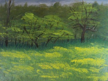 Across the Field. Oil on panel. 12x9