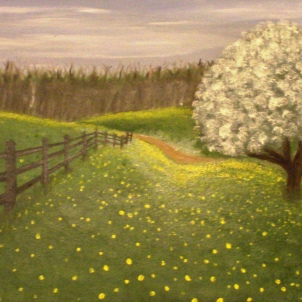 Dandelion Field. 9x12. Oil on panel
