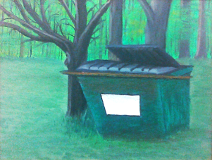 Dumpster By the Woods. Oil on masonite 9x12.