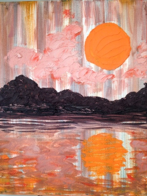"Orange Moon Rising, oil on canvas. 8""x10"" © Rachel Brask"