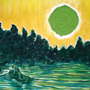 "Moonrise, Greens, oil on canvas. 8""x10"" © Rachel Brask"
