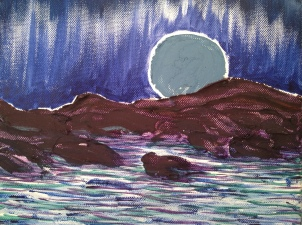 "[SOLD] Blue Moonrise, oil on canvas. 8""x10"" © Rachel Brask"