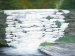 Wiscoy Middle Falls. Oil on panel. 12x9.