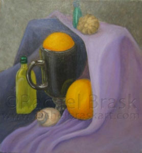 [SOLD] Still Life with Oranges, oil on canvas. © Rachel Brask
