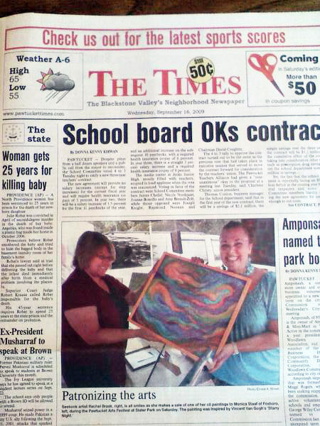 Rachel Brask appears with her artwork in a  photo on the FRONT PAGE of the PAWTUCKET TIMES (Published Sept. 16, 2009. Photo credit: Ernest A. Brown)