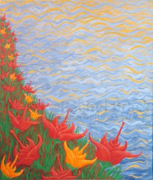 ©Rachel Brask, Tranquility of the Sun, dyptych. Oil on canvas. 20″ x 24″ (1 of 2)