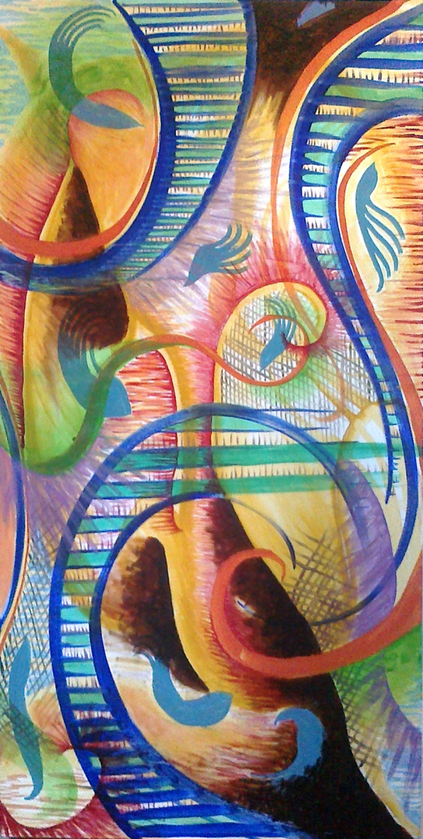 """Jazzical Muse. Oil on canvas. 24x48"""""""