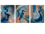 Tryptych: Frames of Thought. Oil on canvas. 15×19 each panel