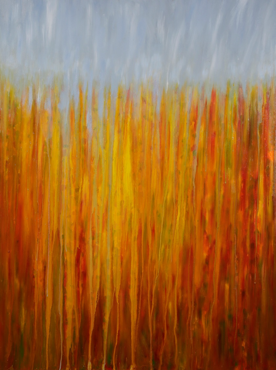 "[SOLD] ©Rachel Brask, Rainy Moment 01 (Autumnal Rain). Oil on canvas, 40""x30"""