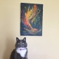Windfire, painting, with cat, Rogue, Megan R., New York