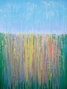 "©Rachel Brask, Rainy Moment 14 (Late Spring Blossoms in Rain). Oil on canvas. 40""x30""."