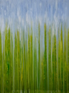 "©Rachel Brask, Rainy Moment 04 (Summer Greens). Oil on canvas, 40""x30"""