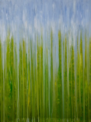 "[SOLD] ©Rachel Brask, Rainy Moment 04 (Summer Greens). Oil on canvas, 40""x30"""