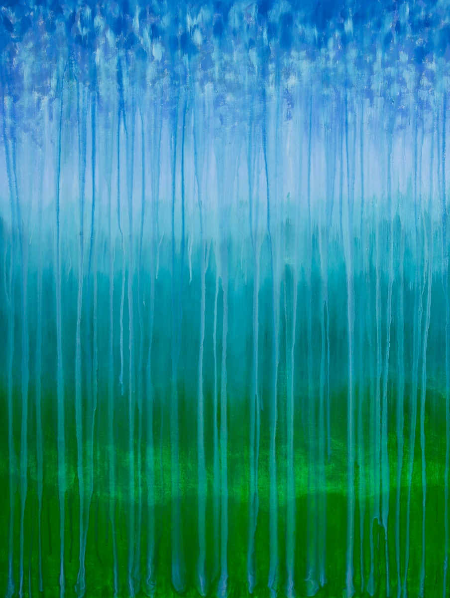 "©Rachel Brask, Rainy Moment 08 (Forested Mountains in Rain). Oil on canvas, 40""x30"""