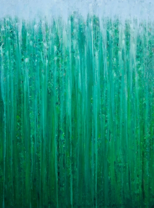 "[SOLD] Rainy Moment 09 (Deep Forest Rain) by Rachel Brask, Oil on canvas, 40""x30"""