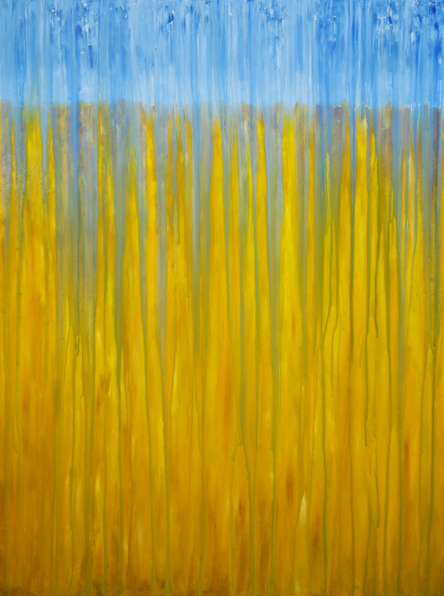 "©Rachel Brask, Rainy Moment 10 (Wheat Field in Rain). Oil on canvas, 40""x30"""