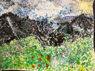 Students create paintings inspired by pointilism