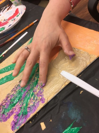 Some students even contributed to the impasto using a hands-on technique