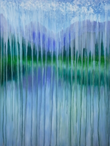 Rachel Brask, Rainy Moment 15 (Lakeside Mountain Rain), oil on canvas, 30x40 inches.