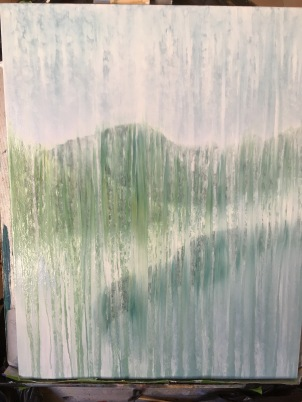partially inspired by the view out the back window, with lake added to painting