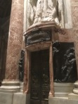 A burial tomb sculpture of some pope from long ago