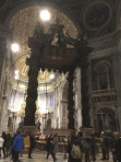 The large Baroque sculpted bronze canopy, technically called a ciborium or baldachin, over the high altar of St. Peter's Basilica