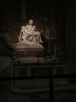Famous sculpture done by a famous artist at St Peter's Basilica (The Piet'a by Michaelangelo!)
