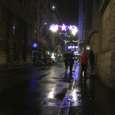Rainy night Rome streets around Spagna