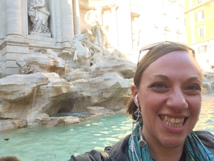 Trevi Fountain selfie, after I tossed the coins over my shoulder
