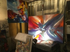 I liked the colors & movement of this artist's paintings