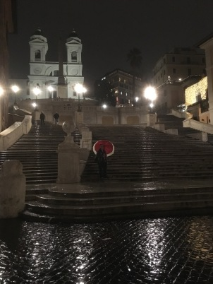 Me on the famous Spanish Steps in the rain, finally alone after all the tourists went home