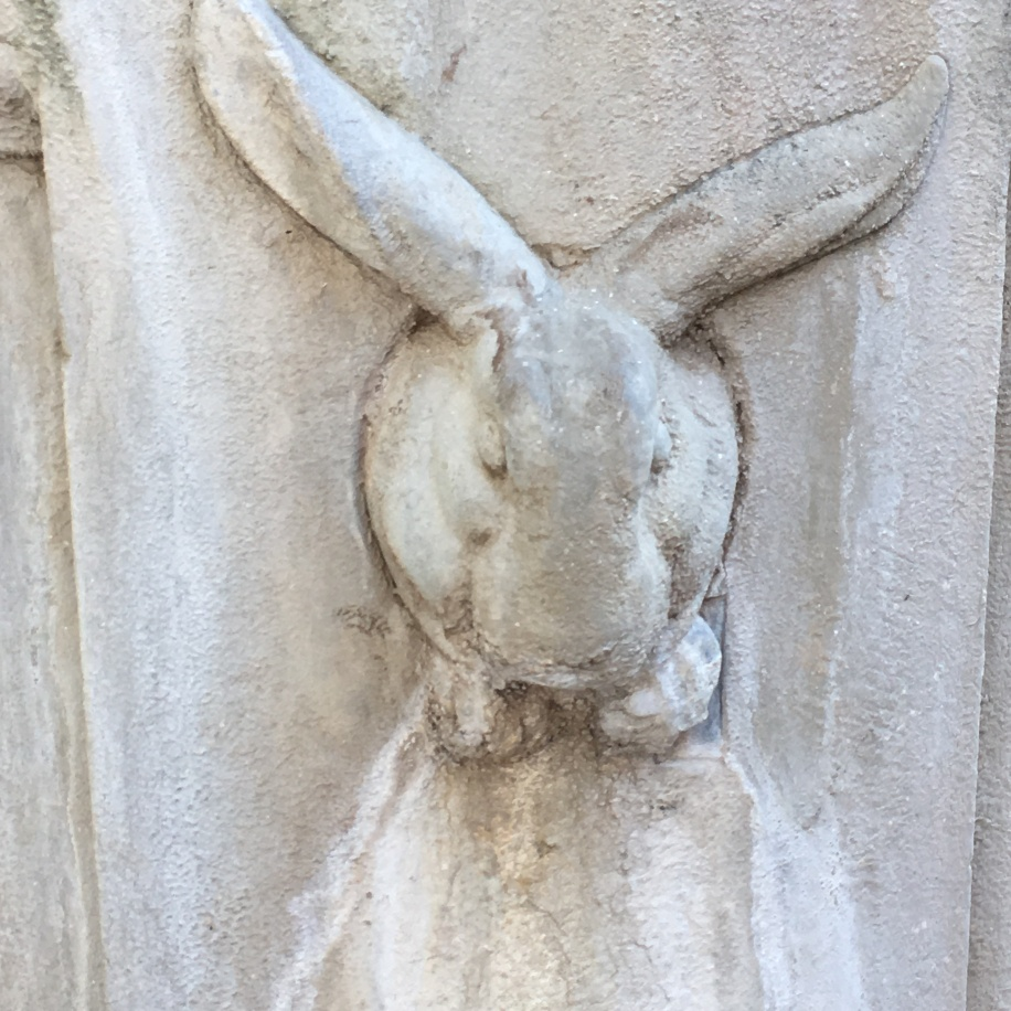 A random, scary rabbit carved into a statue