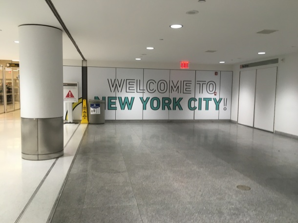 Welcome to New York City mural at JFK in the international terminal