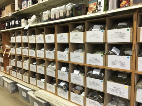 A wall of loose-leaf tea wholesale
