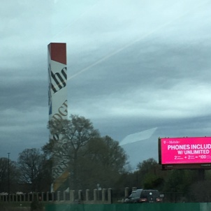 The giant Marlboro smokestack as we passed Phillip Morris Co. along the highway