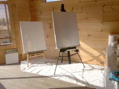 Blank canvases setup and ready to be converted to paintings
