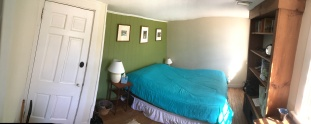 Awkwardly bad attempt at capturing panoramic of small bedroom