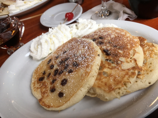 Purple Feather chocolate chip pancakes rose to the standard.