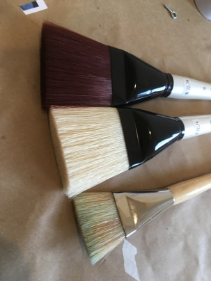 comparing my two new giant brushes (top two) with my former largest brush (bottom one)