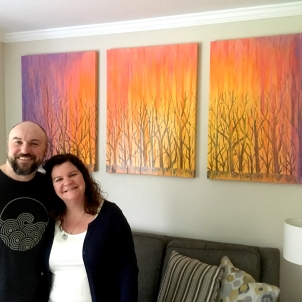 Heather & Paul commissioned a triptych painting inspired by the rainy concept of looking through their backyard woods at sunset for their new house