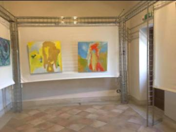 We hung first some art by LA artists, here is abstract paintings by Joshua Elias