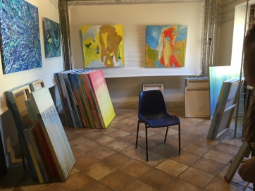 We had to store my paintings in the back gallery room until the other artist cleared out