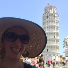 The famous Leaning Tower of Pisa partially obscured by my new sunbrero