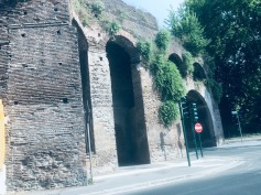 Roman ruins on the taxi drive from train station to hotel