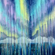 Rainy Moment 16 (Aurora Borealis in Rain), oil on canvas by Rachel Brask, 30x40 inches