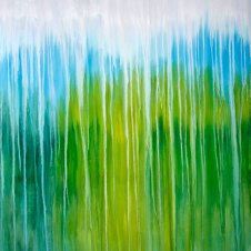 Rainy Moment 18 (Elysian Pond Rainy Reflections), oil on canvas by Rachel Brask, 30x40 inches