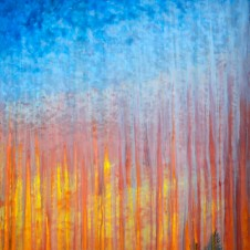 Rainy Moment 19 (Rainy Sunset Over Yonder Mountains), oil on canvas by Rachel Brask, 30x40 inches