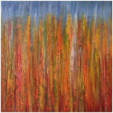 Autumn Trio, oil on canvas by Rachel Brask, 12x12inches each panel