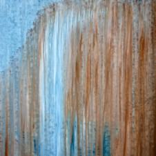 Rainy Moment 22 (Cliff Waterfall in the Rain), oil on canvas by Rachel Brask, 30x40 inches